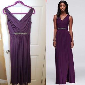 David's Bridal Bridesmaid Dress W11092 Plum
